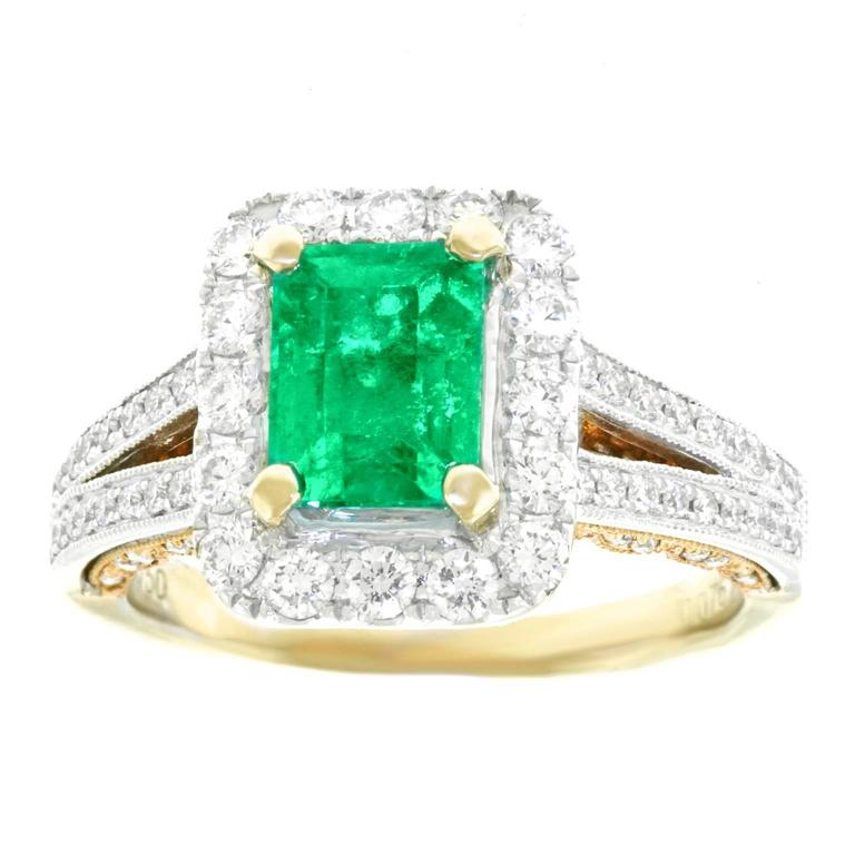 Emerald and Diamond Set Gold Ring