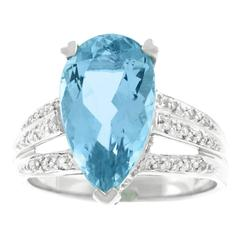 Aquamarine and Diamond Set Gold Ring