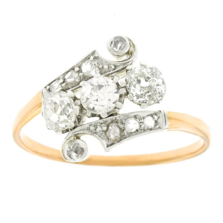 1920s deco gold and platinum ring for sale at