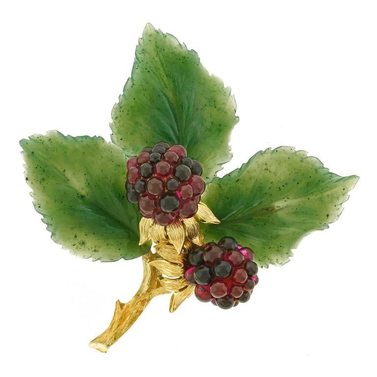 Garnet And Jade Blackberry Gold Brooch At 1stdibs