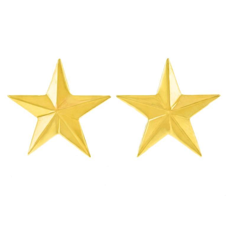 Bold 1980s Gold Star Earrings