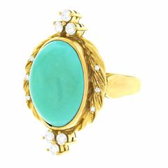 1960s Carl Bucherer Persian Turquoise Diamond and Gold Ring