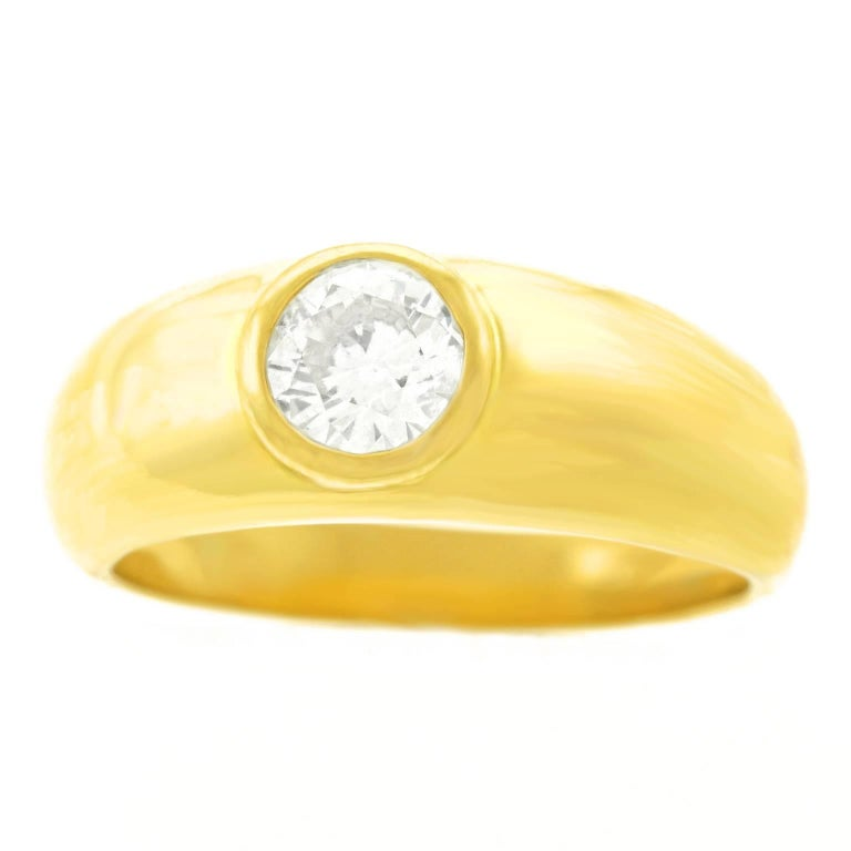 Gypsy Set Gold Ring .60 Carat Diamond For Sale
