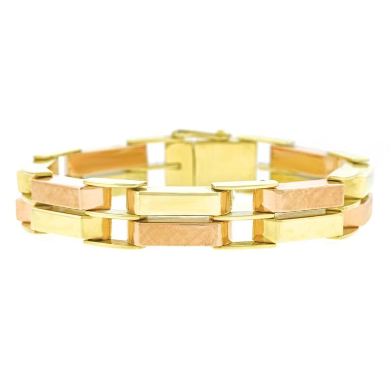 Brilliantly Modern Retro 1940s Rose and Yellow Gold Bracelet