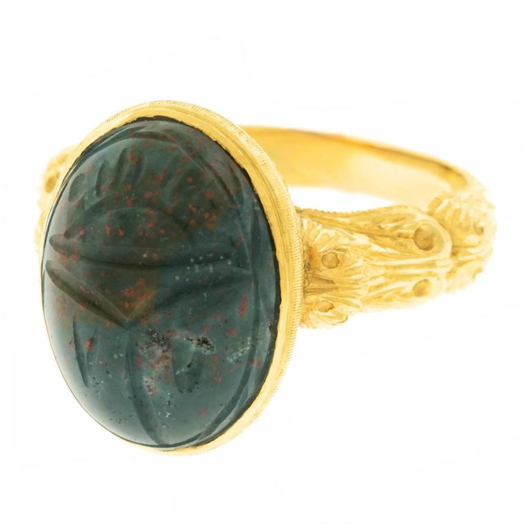 antique bloodstone gold scarab ring at 1stdibs
