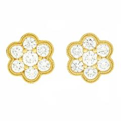 Diamond Fleurette Yellow Gold Earrings