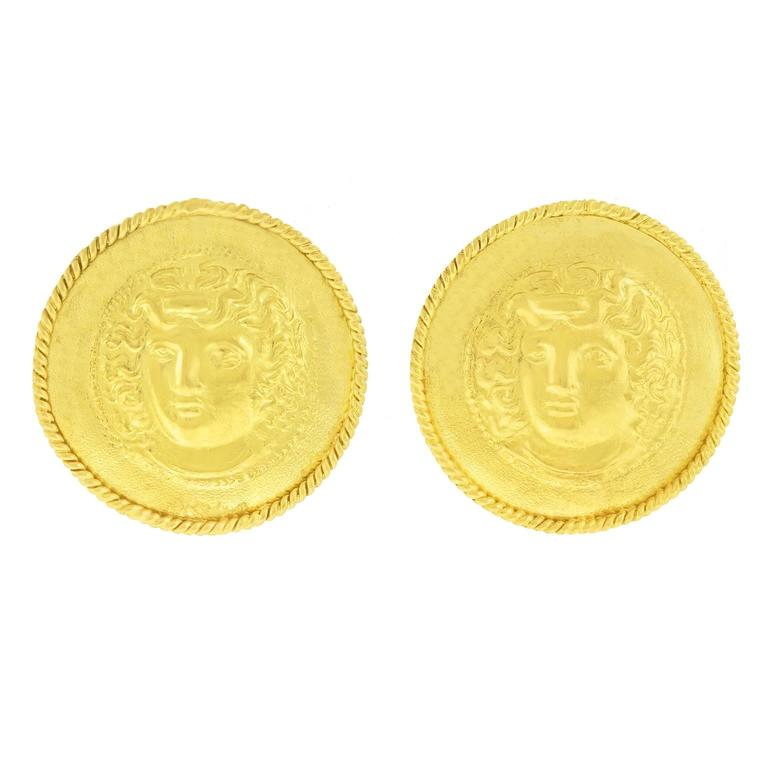 Medusa Head Gold Earrings
