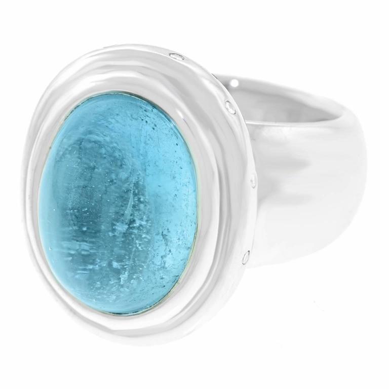 16 Carat Aquamarine and Diamond Modernist Ring For Sale