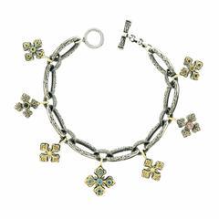 Konstantino Medieval Cross Sterling Gold Charm Bracelet