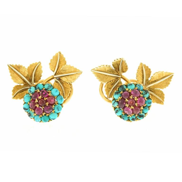 1950s Turquoise Ruby Gold Earrings