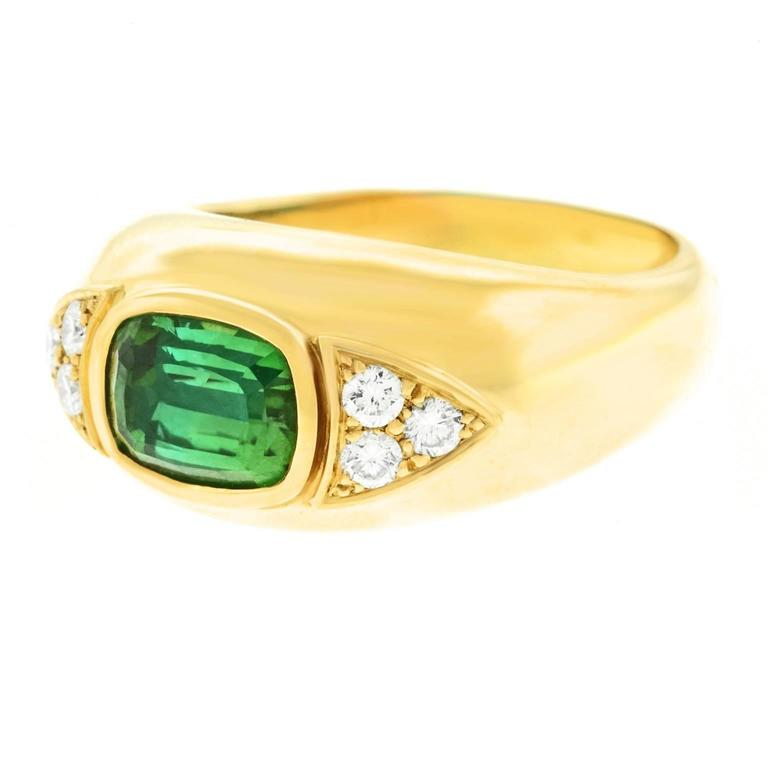 Tourmaline and Diamond Set Gold Ring For Sale