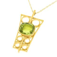 1950s Modernist Peridot Gold Pendant