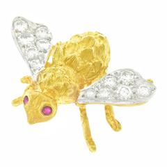 Herbert Rosenthal Diamond Set Gold Bee Pin