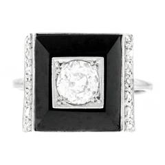 Art Deco Onyx Diamond White Gold Ring