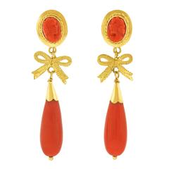 Art Deco Coral and Gold Earrings