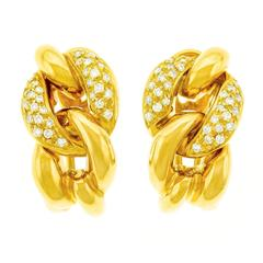 Bucherer Diamond Set Gold Earrings