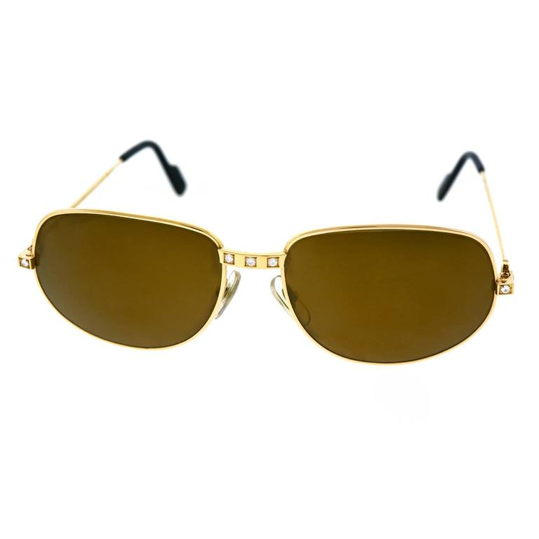 "Cartier ""Santos"" Diamond Set 18k Gold Sunglasses"