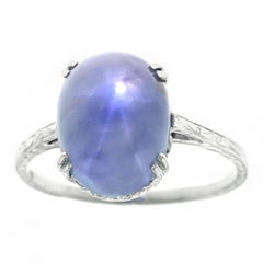 Art Deco 8.08ct Star Sapphire Gold Ring GIA No Heat Ceylon