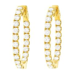 Diamond-Set Yellow Gold Hoop Earrings