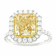 4.37 Carat Fancy Yellow Diamond Ring EGL Report