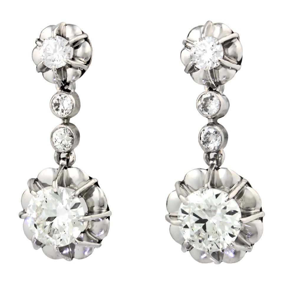 Art Deco Platinum Over Gold Diamond Drop Earrings 3
