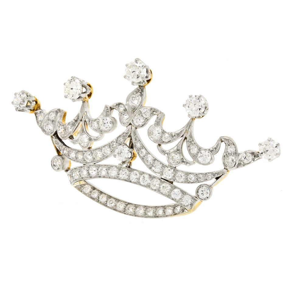 Tiffany & Co. Diamond-Set Platinum Over 18k Gold Crown Brooch 3