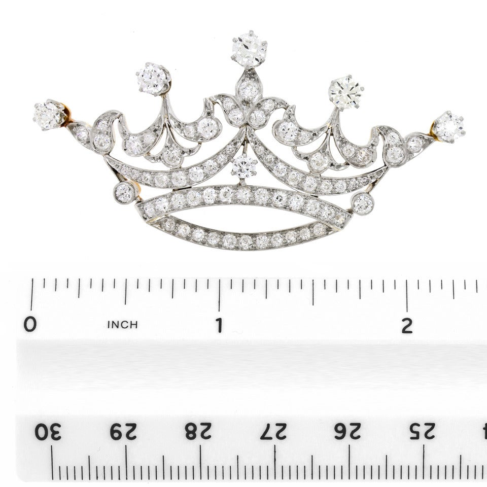 Tiffany & Co. Diamond-Set Platinum Over 18k Gold Crown Brooch 6