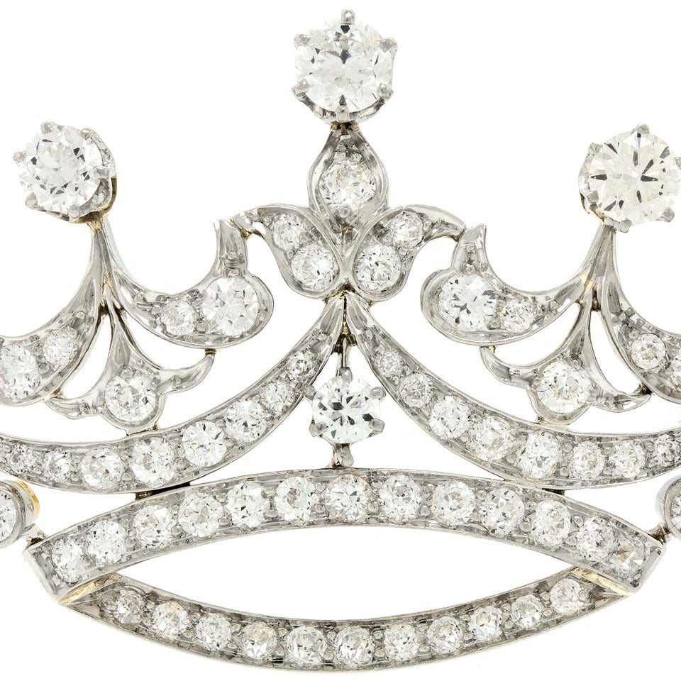 Tiffany & Co. Diamond-Set Platinum Over 18k Gold Crown Brooch 8