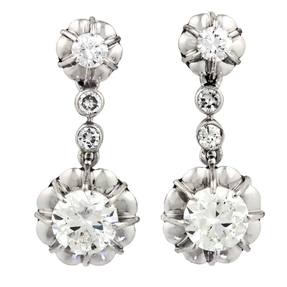 Art Deco Platinum Over Gold Diamond Drop Earrings 1