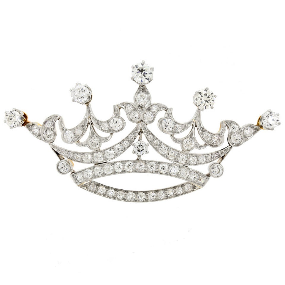 Tiffany & Co. Diamond-Set Platinum Over 18k Gold Crown Brooch 1