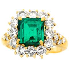 Van Cleef & Arpels Emerald Diamond Gold Cluster Ring