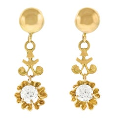 Diamond Drop Gold Earrings