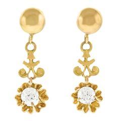 Diamond Drop Gold Earrings