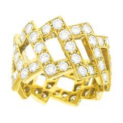 David Webb Diamond Yellow Gold Band Ring