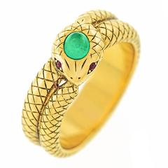 Antique Tiffany Emerald Gold Snake Ring