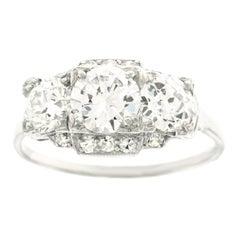 Art Deco GIA Diamond Set Platinum Ring