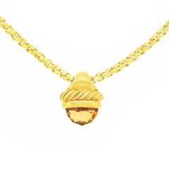 David Yurman Citrine Cable Pendant and Chain in Gold