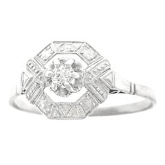 French Art Deco Diamond Set Platinum and Gold Ring