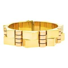 French Art Deco Geometric Gold Bracelet
