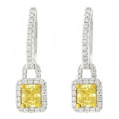 Fancy Yellow and White Diamond Set Gold Earrings