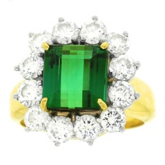 Superb Tourmaline and Diamond-Set Platinum and Gold Ring