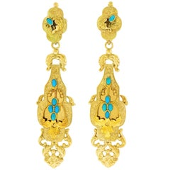 Antique Turquoise set Gold 3 inch long Chandelier Earrings
