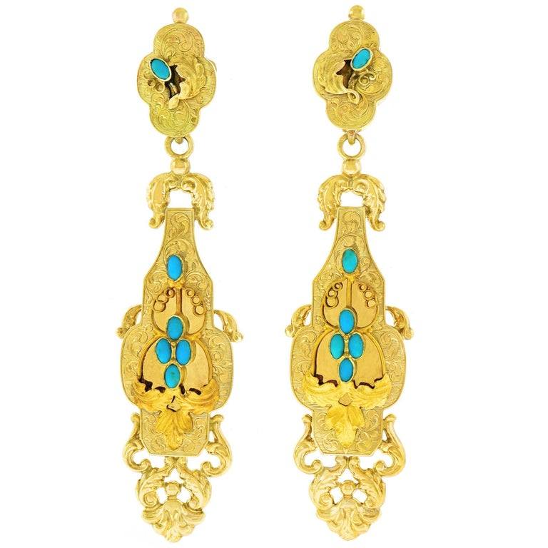 Antique Turquoise set Gold Chandelier Earrings