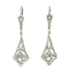 French Art Deco Diamond Set Gold Drop Earrings