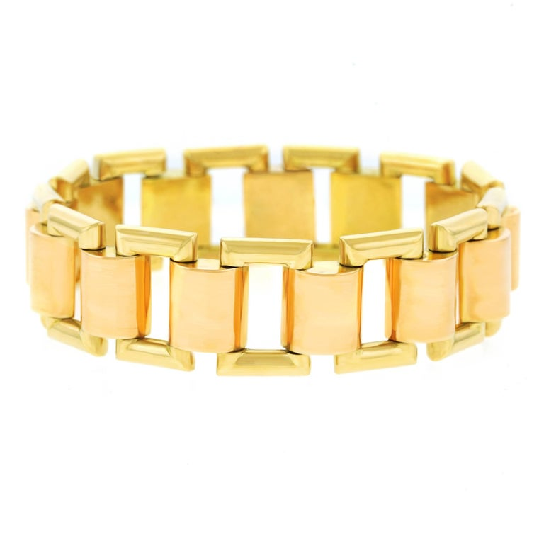 French Art Deco Gold Bracelet For Sale