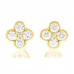 Diamond-Set Yellow Gold Clover Earrings
