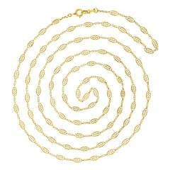 Antique French 64-Inch Gold Filigree Necklace