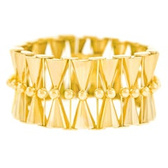 French Art Deco Polished Gold Bracelet
