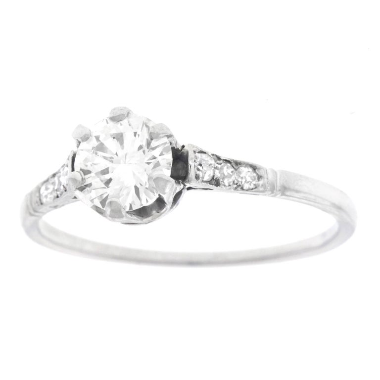 Art Deco Platinum Diamond Engagement Ring For Sale