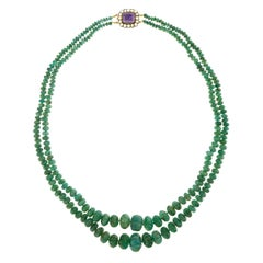 Double-Strand Emerald Necklace with Antique Gold Catch